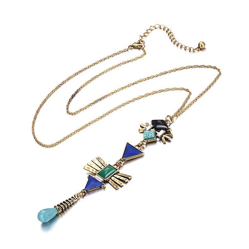 Alloy Fashion Geometric necklace  (Alloy + Green) NHTF0194-Alloy-Green