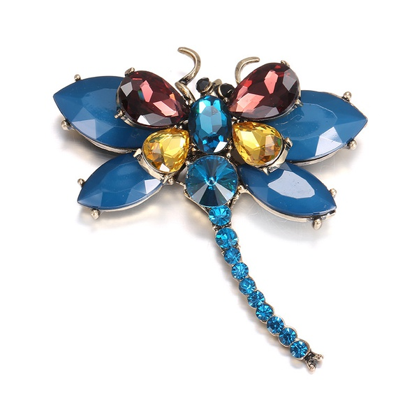 Alloy Fashion Animal brooch  (Ancient alloy + blue) NHTF0197-Ancient-alloy-blue