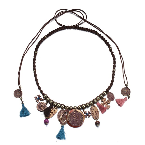 Alloy Fashion Geometric necklace  (Old alloy red rust + coffee color) NHTF0198-Old-alloy-red-rust-coffee-color