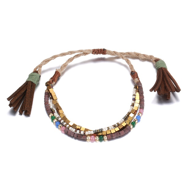 Alloy Fashion Geometric bracelet  (KC Alloy + Coffee Color) NHTF0199-KC-Alloy-Coffee-Color