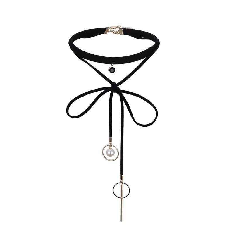 Beads Fashion Geometric necklace  Alloy + Black NHTF0204AlloyBlack