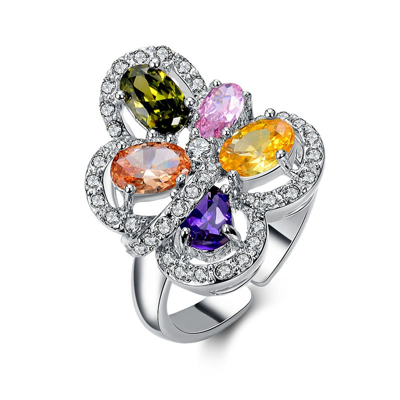 Alloy Fashion Flowers Ring  (US5.5-50MM) NHTF0211-US5.5-50MM