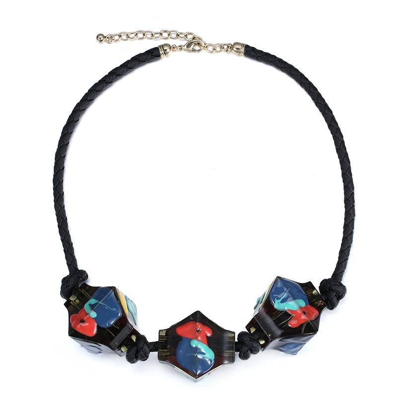 Plastic Fashion Geometric necklace  (Mixed color) NHTF0212-Mixed-color