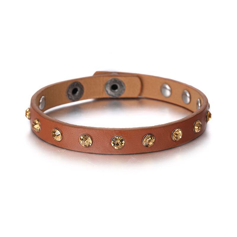 Leather Fashion Geometric bracelet  (Gun Black + Coffee Color) NHTF0213-Gun-Black-Coffee-Color