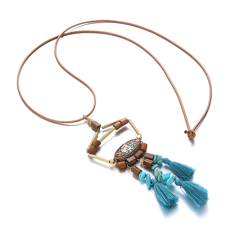 Leather Vintage Geometric necklace  (Alloy + blue) NHTF0215-Alloy-blue