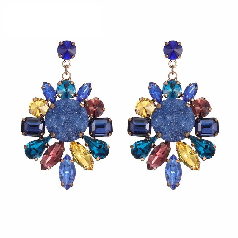 Alloy Vintage Geometric earring  (Alloy + blue) NHTF0216-Alloy-blue
