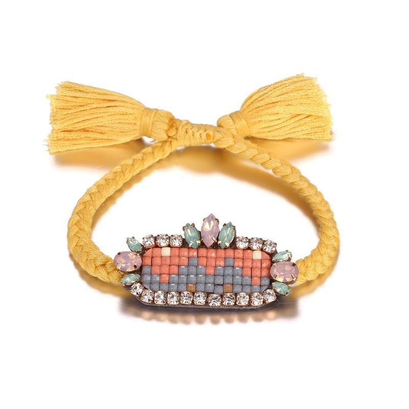 Alloy Bohemia Geometric bracelet  (Alloy + Yellow) NHTF0217-Alloy-Yellow