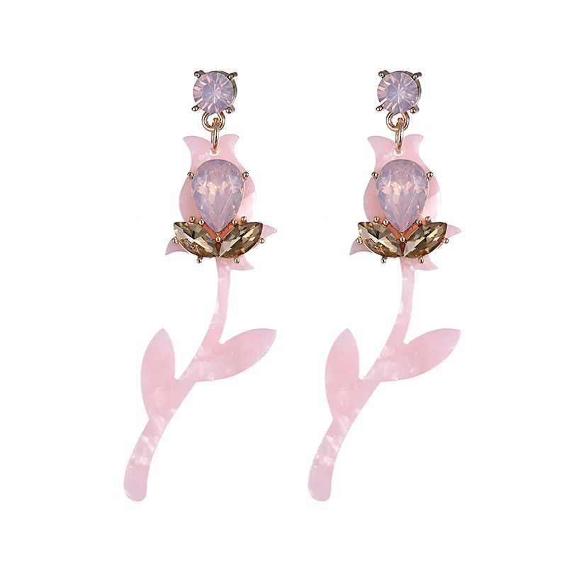 Alloy Fashion Flowers earring  (Alloy + pink) NHTF0228-Alloy-pink