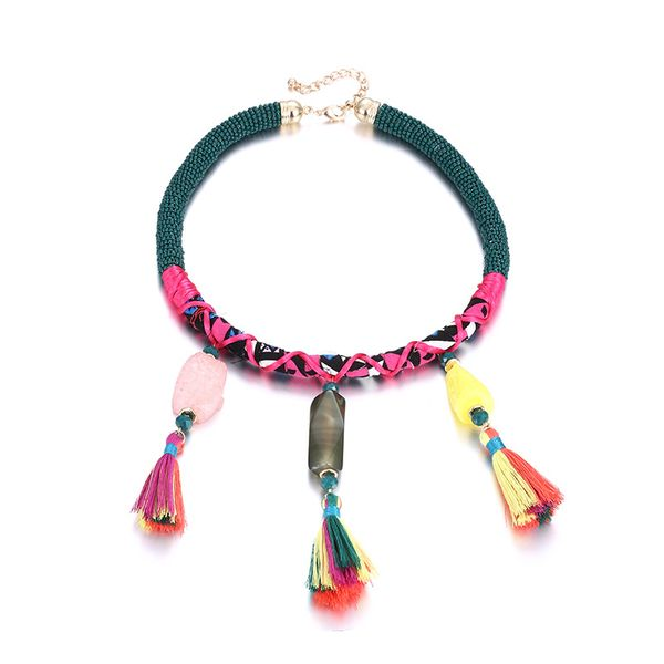 Plastic Bohemia Geometric necklace  (Color mixing) NHTF0229-Color-mixing