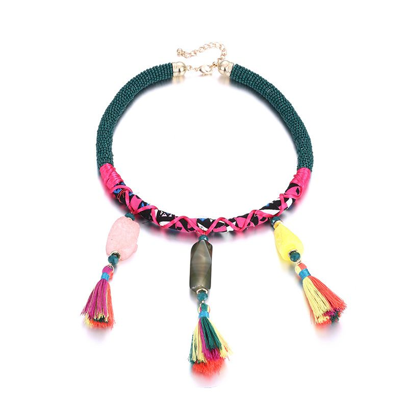Plastic Bohemia Geometric necklace  Color mixing NHTF0229Colormixing