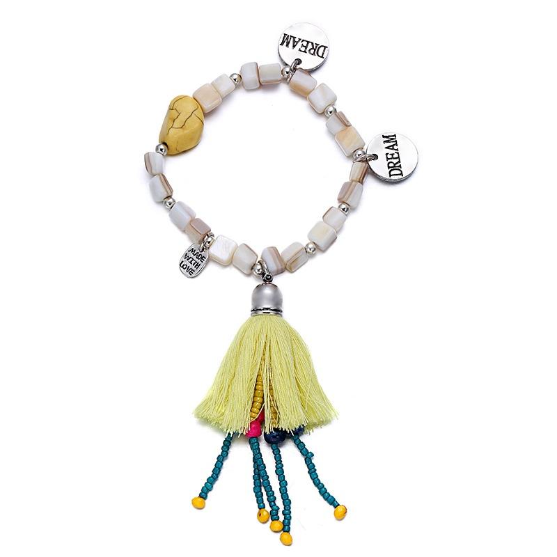Alloy Bohemia Geometric bracelet  (creamy-white) NHTF0230-creamy-white