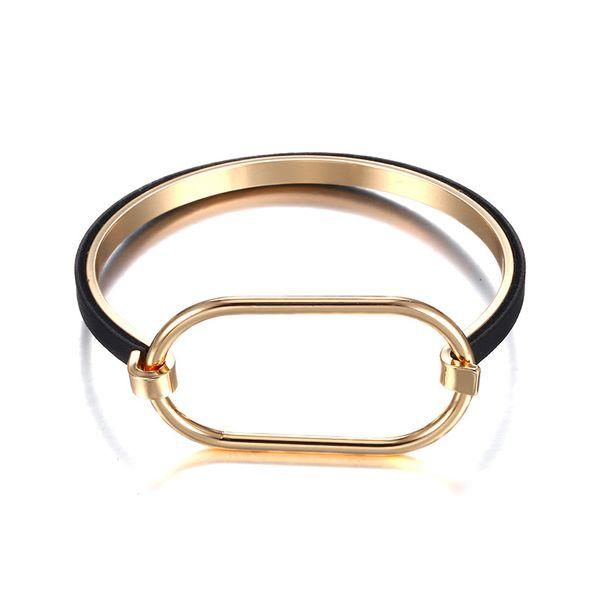 Alloy Simple Geometric bracelet  (Alloy + Black) NHTF0235-Alloy-Black