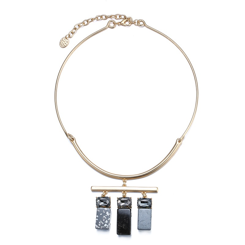 Alloy Fashion Geometric necklace  (Aukin + Black) NHTF0244-Aukin-Black