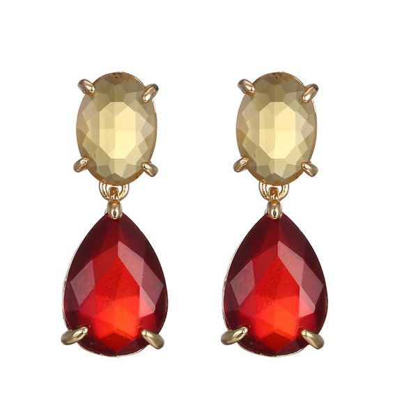 Alloy Fashion Geometric earring  (Alloy + dark red) NHTF0247-Alloy-dark-red