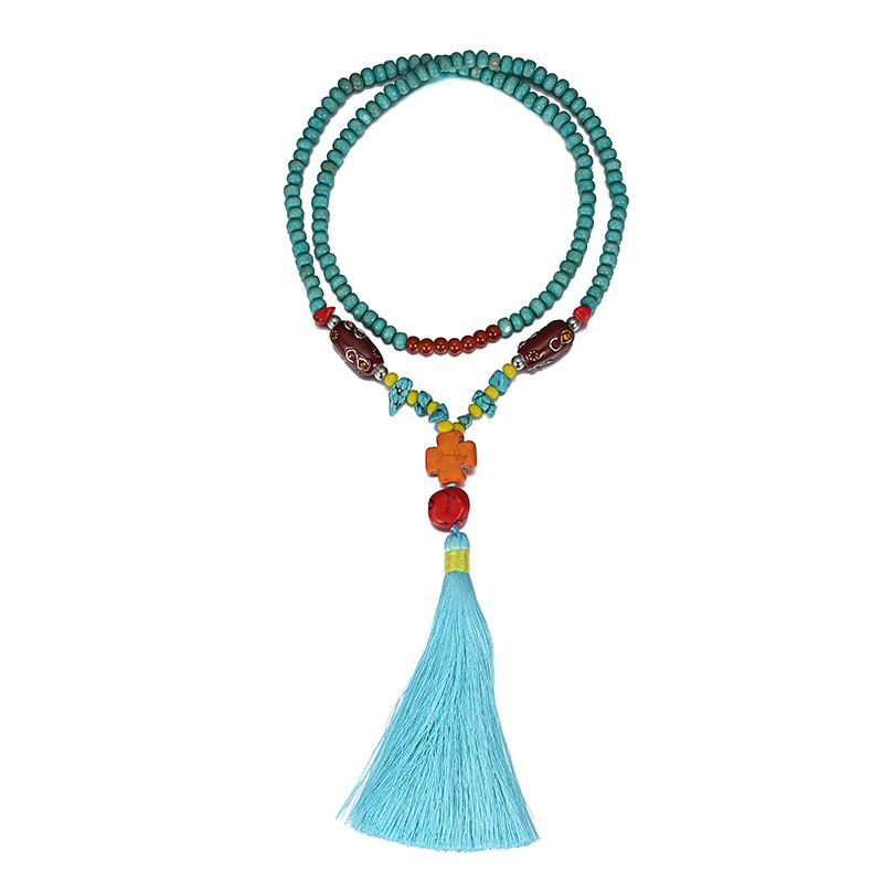 Alloy Korea Cross necklace  (blue) NHTF0261-blue