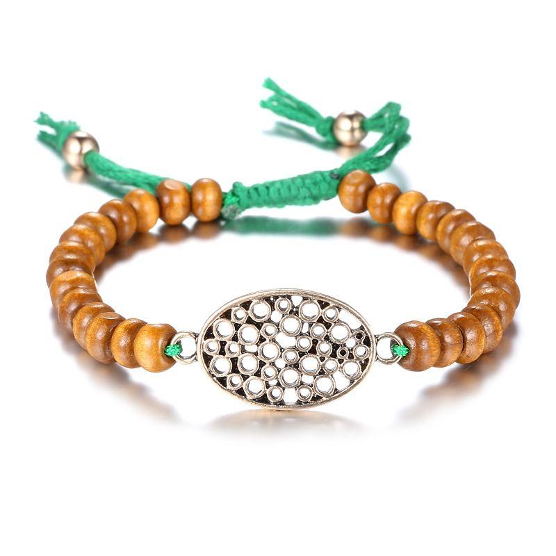 Alloy Bohemia Sweetheart bracelet  (Old Alloy + Coffee Color) NHTF0263-Old-Alloy-Coffee-Color