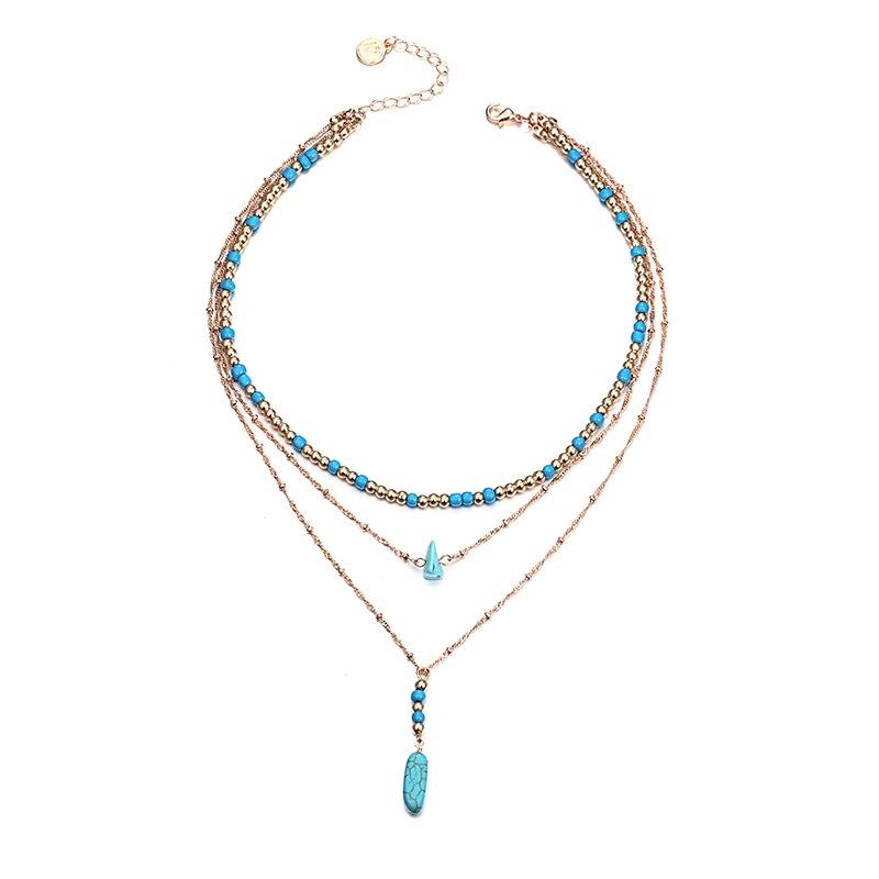 Alloy Fashion Geometric necklace  (Alloy + blue) NHTF0264-Alloy-blue