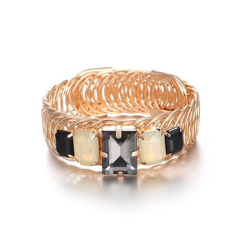 Alloy Fashion Geometric bracelet  (KC alloy + black) NHTF0267-KC-alloy-black