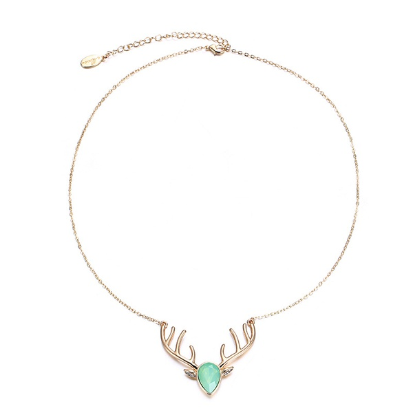 Alloy Korea Geometric necklace  (KC Alloy + Green Protein) NHTF0266-KC-Alloy-Green-Protein