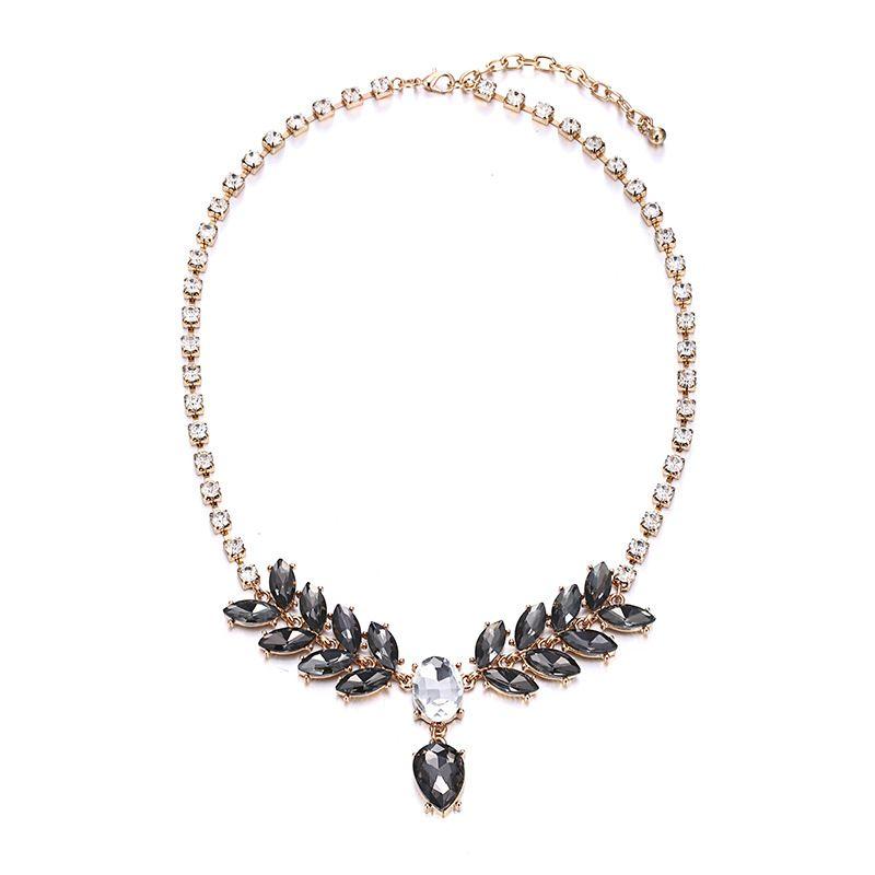 Alloy Fashion Geometric necklace  (Alloy + Black) NHTF0268-Alloy-Black