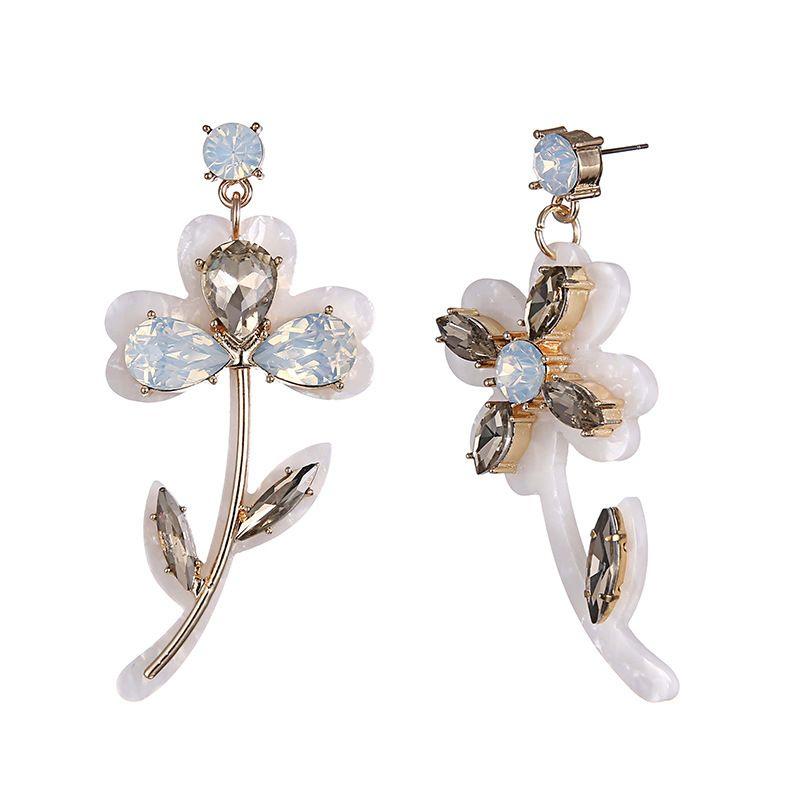 Alloy Fashion Flowers earring  (Alloy + white) NHTF0278-Alloy-white