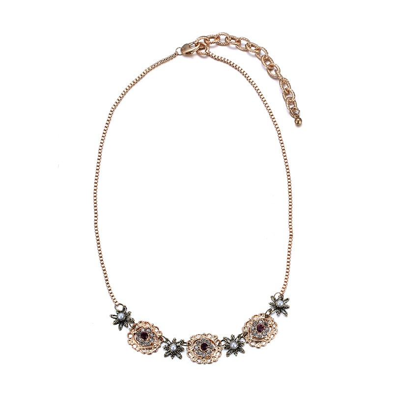 Alloy Fashion Flowers necklace  (Titanium) NHTF0280-Titanium