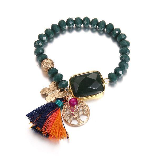 Alloy Bohemia Animal bracelet  (Dumb Alloy + Green) NHTF0281-Dumb-Alloy-Green
