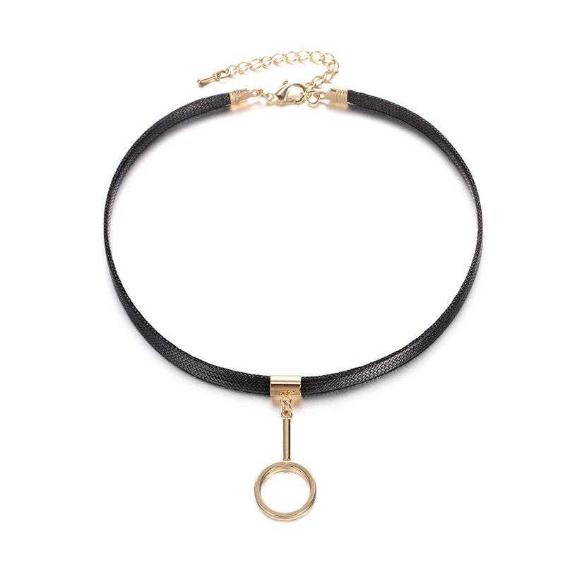 Alloy Punk Geometric necklace  (Alloy + Black) NHTF0282-Alloy-Black
