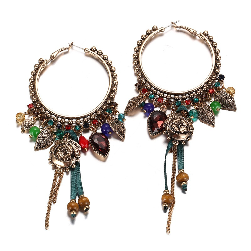 Alloy Fashion Flowers earring  (Old alloy + red) NHTF0283-Old-alloy-red