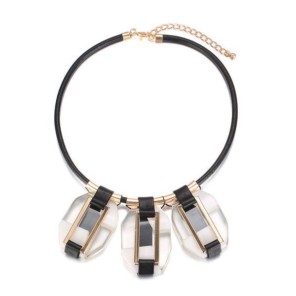 Plastic Fashion Geometric necklace  (KC Alloy + White) NHTF0288-KC-Alloy-White