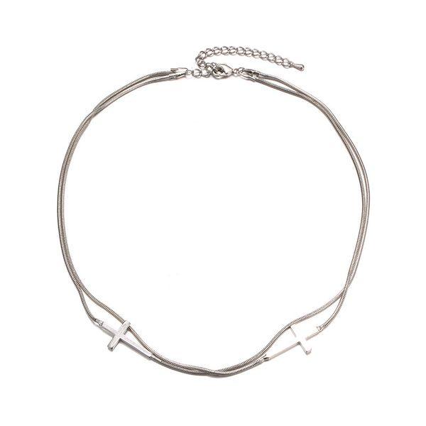 Alloy Korea Cross necklace  (White K) NHTF0291-White-K