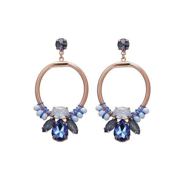 Alloy Fashion Geometric earring  (KC Alloy + Blue Grey) NHTF0293-KC-Alloy-Blue-Grey