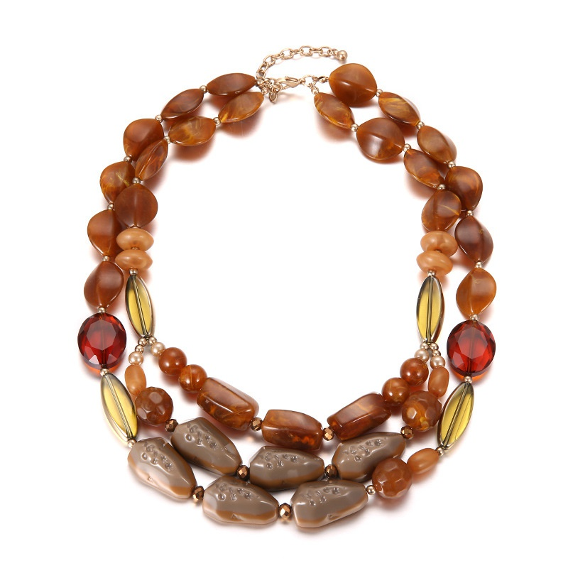 Plastic Bohemia Geometric necklace  (Alloy + coffee color) NHTF0301-Alloy-coffee-color