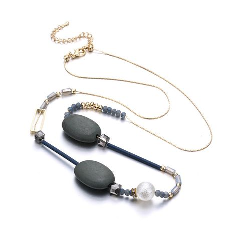 Acrylic Vintage Geometric necklace  (Alloy + Gray) NHTF0302-Alloy-Gray's discount tags