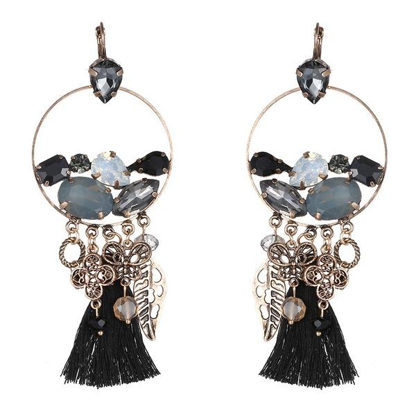 Alloy Bohemia Flowers earring  (Alloy + black) NHTF0303-Alloy-black