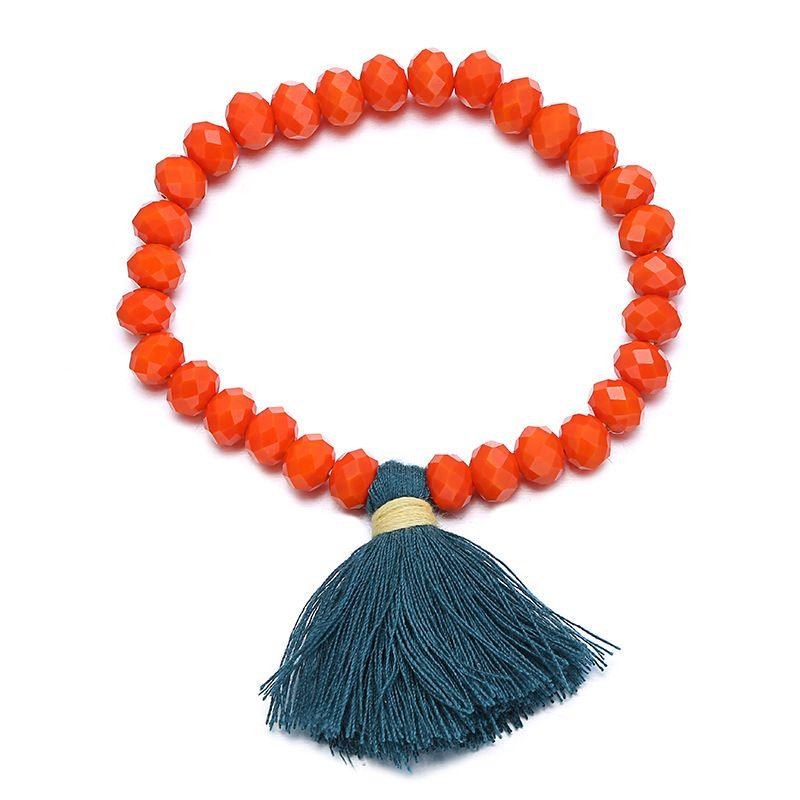 Imitated crystal&CZ Korea Geometric bracelet  (Orange) NHTF0306-Orange