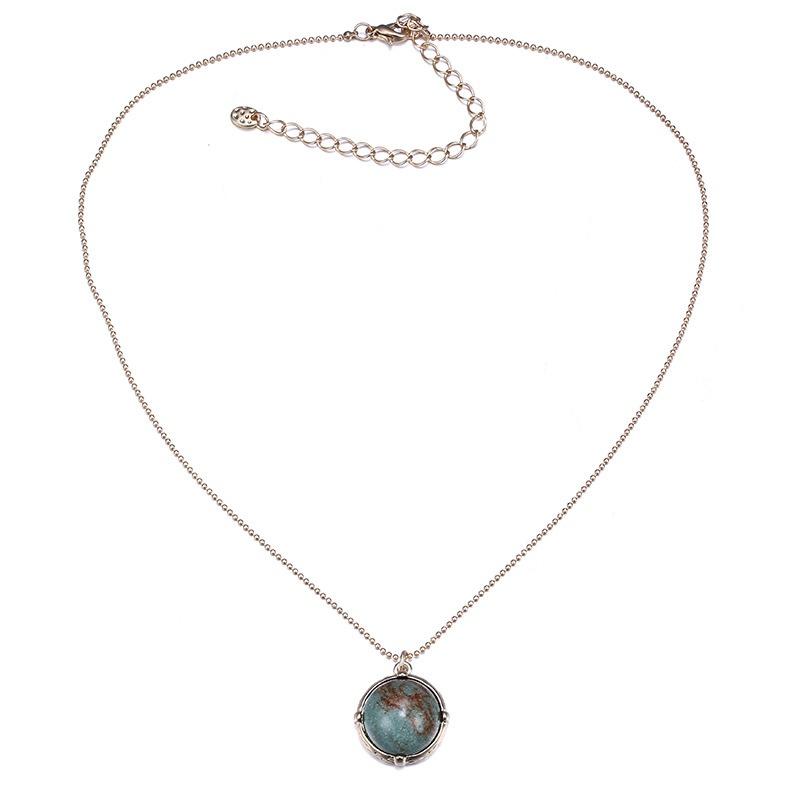 Alloy Korea Geometric necklace  (Dumb Alloy + Green) NHTF0305-Dumb-Alloy-Green