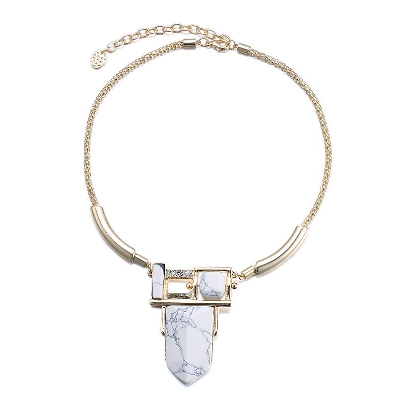 Alloy Fashion Geometric necklace  (Imitation alloy + white) NHTF0310-Imitation-alloy-white