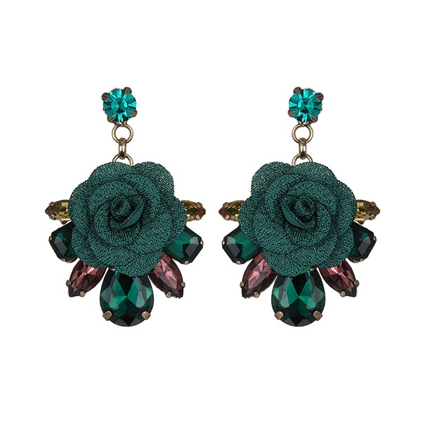 Alloy Fashion Flowers earring  (Ancient alloy + green) NHTF0311-Ancient-alloy-green