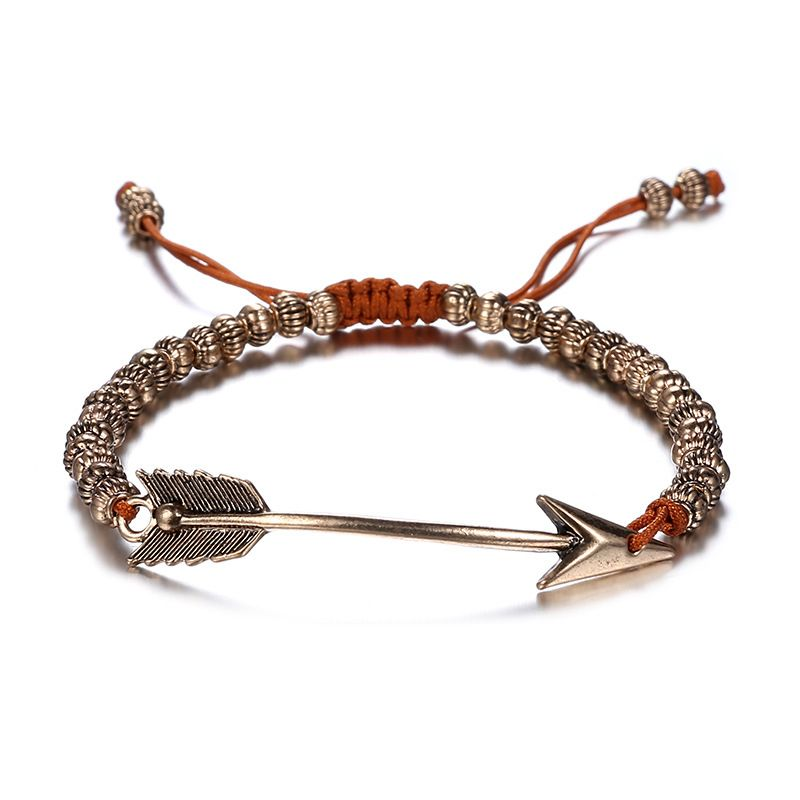 Alloy Bohemia Geometric bracelet  Old Alloy + Coffee Color NHTF0314OldAlloyCoffeeColor