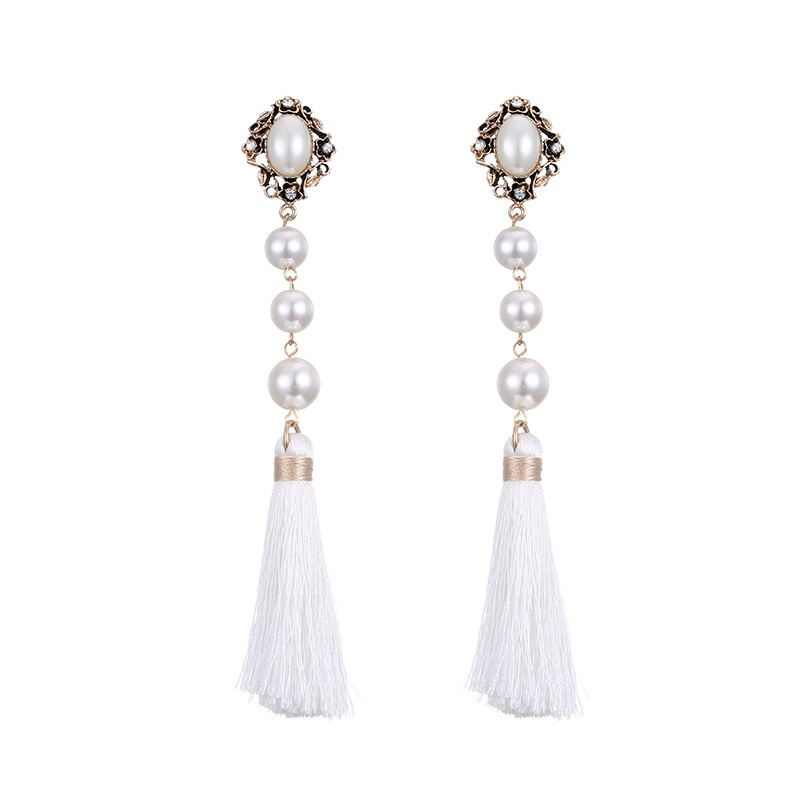 Alloy Fashion Flowers earring  (Ancient alloy + white) NHTF0316-Ancient-alloy-white