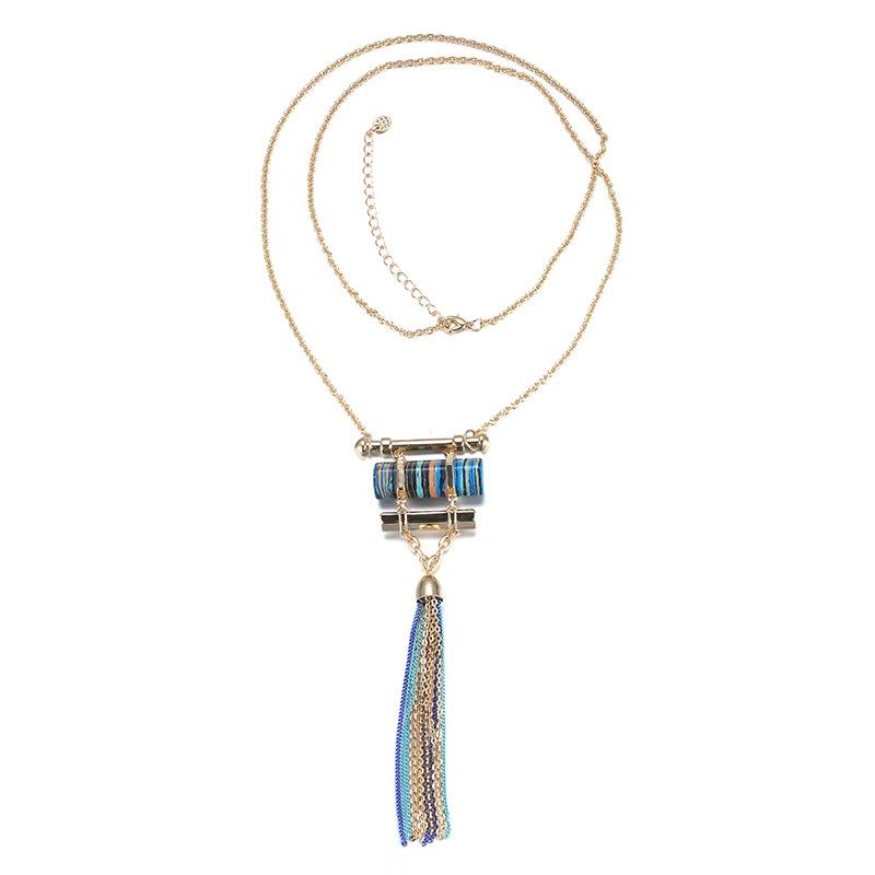 Alloy Korea Geometric necklace  (Imitation alloy + blue) NHTF0328-Imitation-alloy-blue