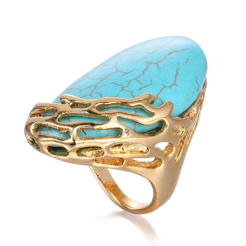 Alloy Korea Geometric Ring  (Blue US6-52MM) NHTF0333-Blue-US6-52MM