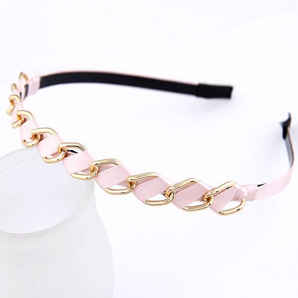Easy match alloy circle weave headband ( pink ) 209988