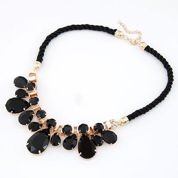 Fashionable mix tear drop gem weave cord short necklace 209656