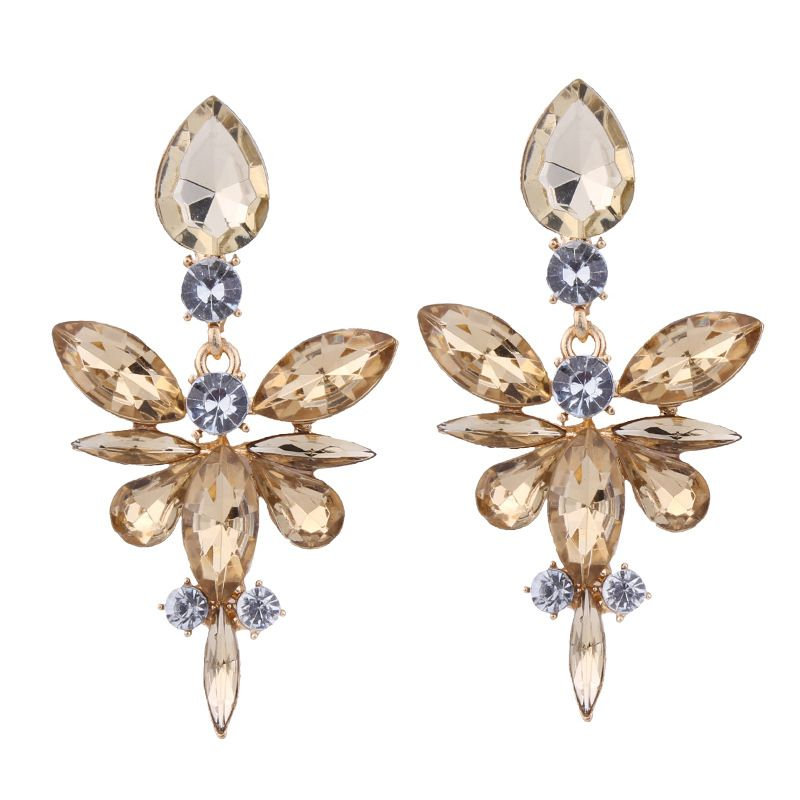 Occident alloy Drop shape earring  champagne  NHJQ7039