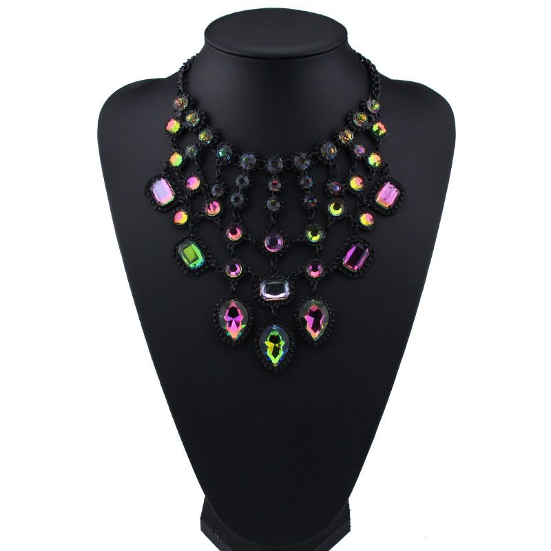 Occident and the United States alloy Rhinestone necklace color NHJQ7289