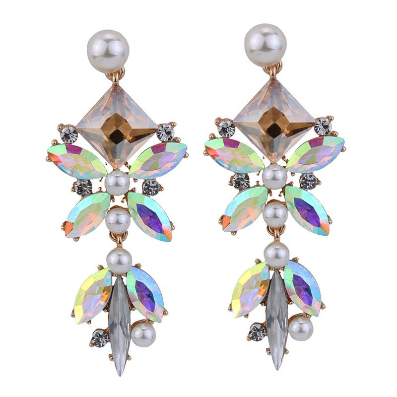 Occident and the United States alloy Rhinestone earring (Champagne color) NHJQ7343