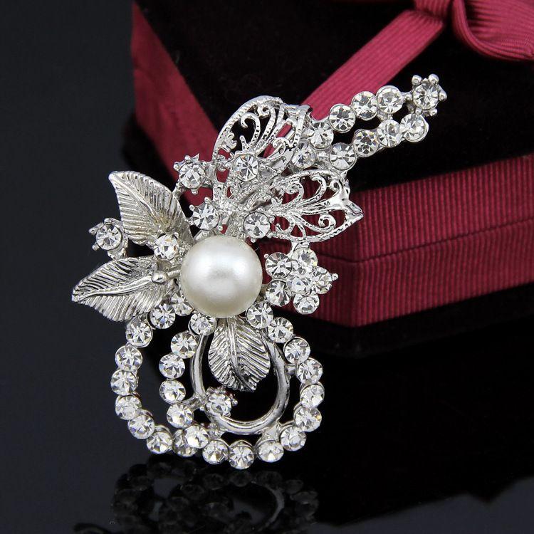 Korea Alloy plating brooch Flowers White K White AD087A  NHDR2285