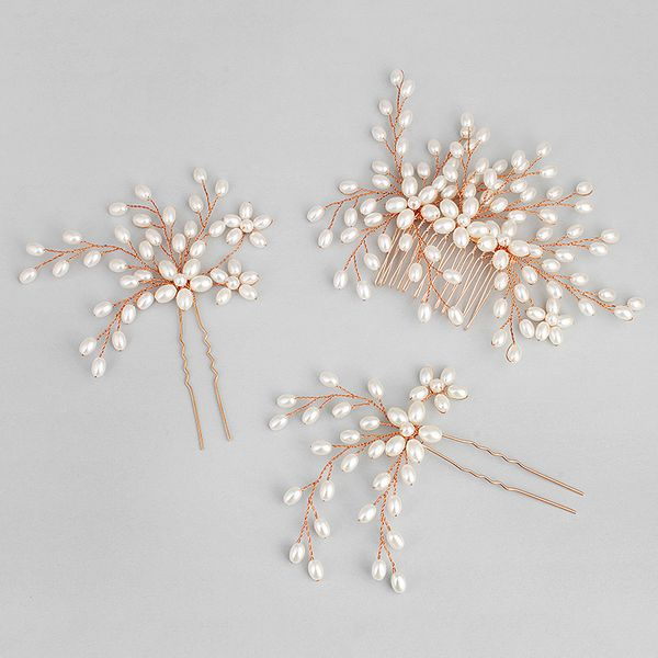 Beads Fashion Flowers Hair accessories  (Rose alloy) NHHS0024-Rose alloy